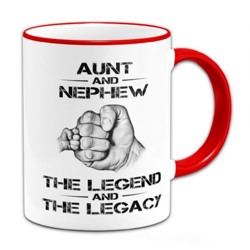 The Legend And The Legacy Novelty Gift Mug - Red Handle / Rim